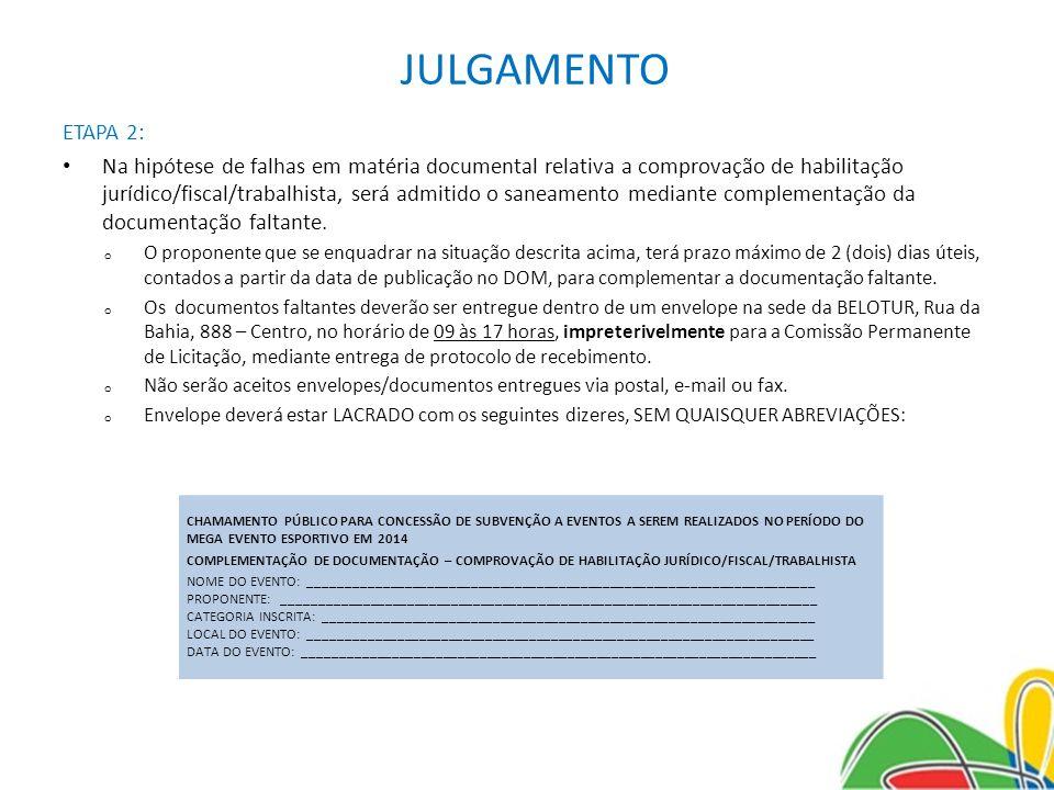 JULGAMENTO ETAPA 2: