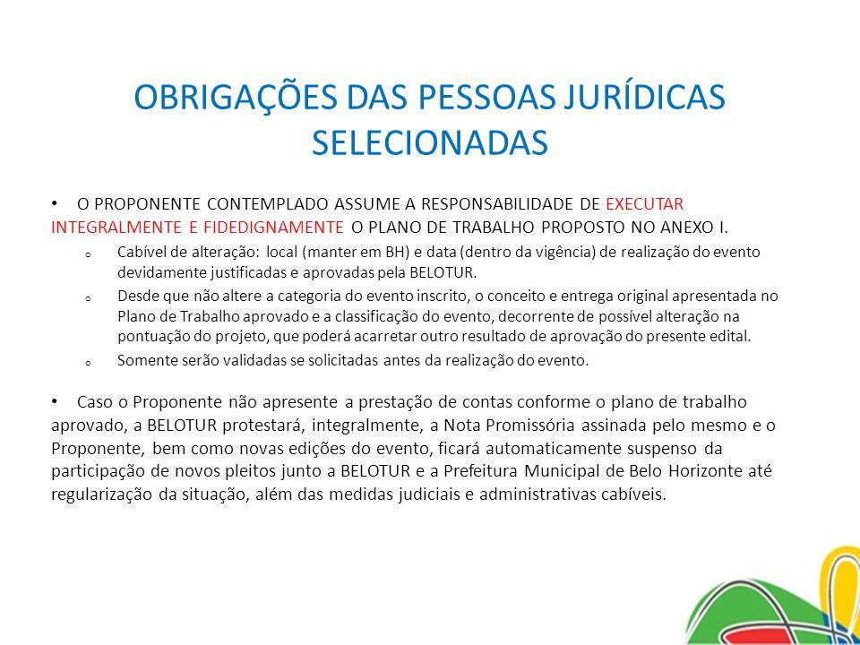 OBRIGAÇÕES DAS PESSOAS JURÍDICAS SELECIONADAS