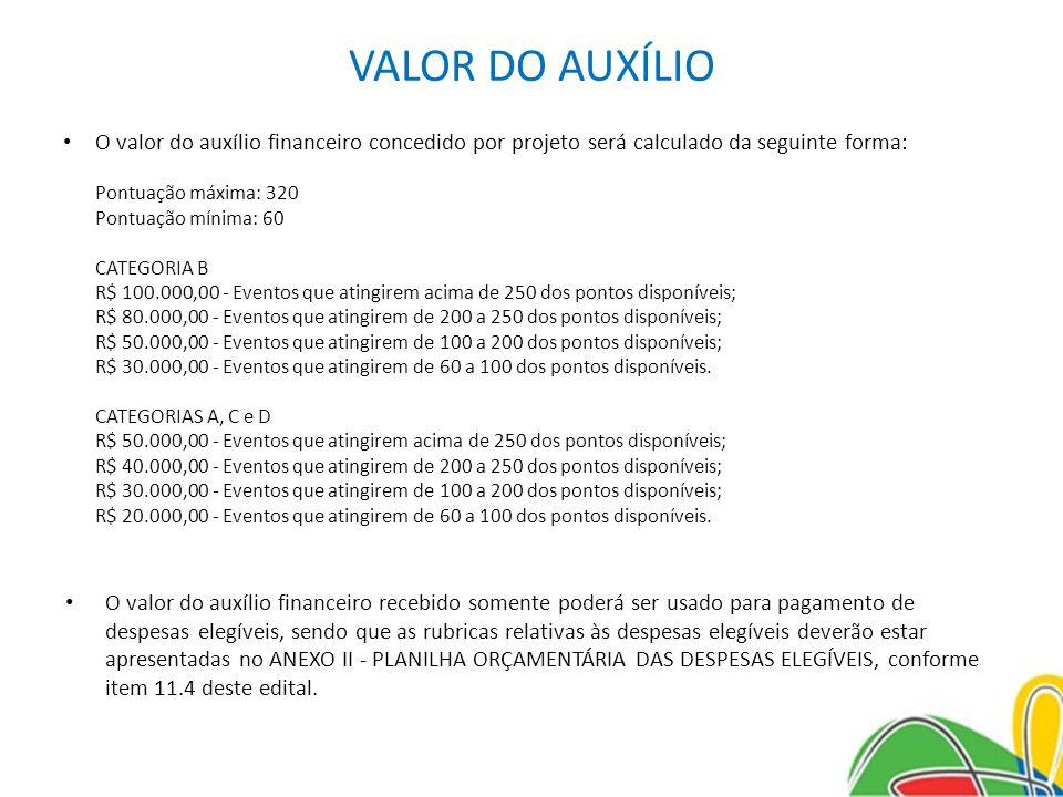 VALOR DO AUXÍLIO O valor do auxílio financeiro concedido por projeto será calculado da seguinte forma: