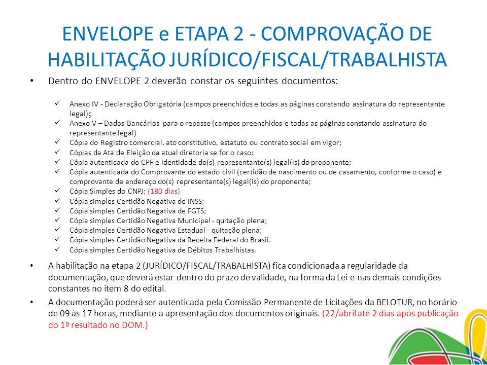 ENVELOPE e ETAPA 2 - COMPROVAÇÃO DE HABILITAÇÃO JURÍDICO/FISCAL/TRABALHISTA