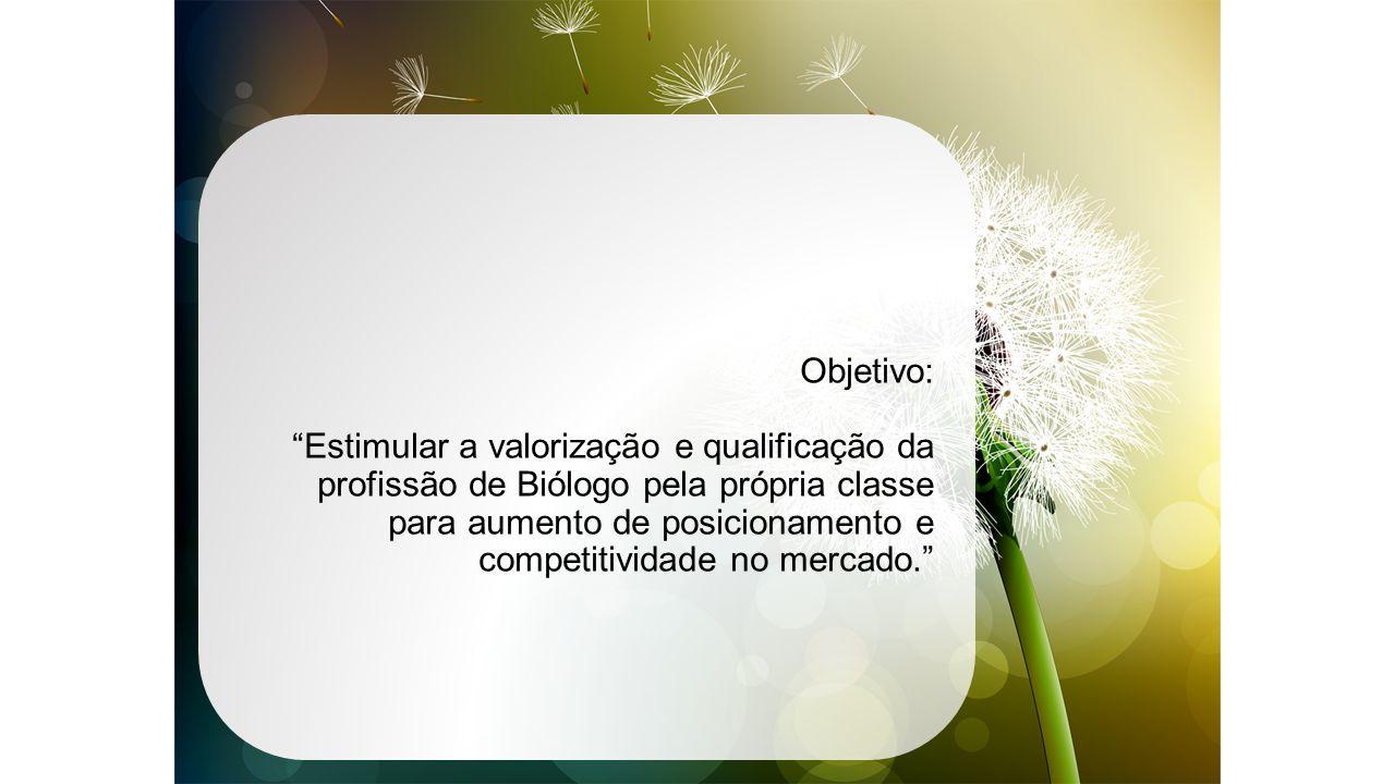 Objetivo: Estimular a valorização e qualificação da profissão de Biólogo pela própria classe para aumento de posicionamento e competitividade no mercado.