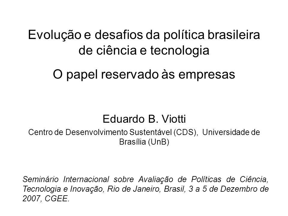 Evolução e desafios da política brasileira de ciência e tecnologia O papel reservado às empresas