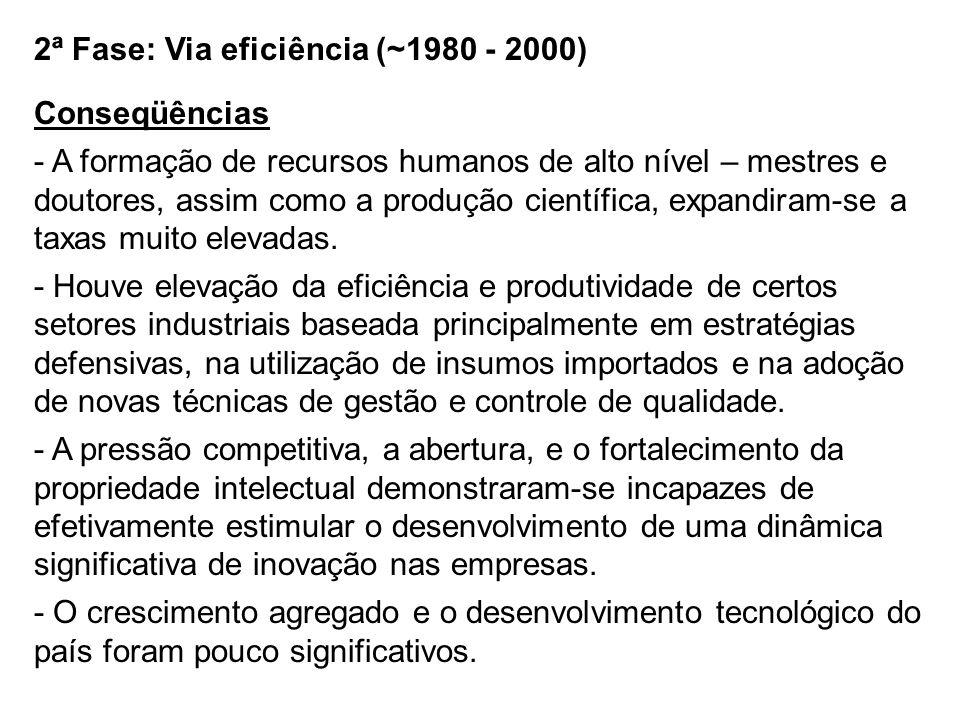 2ª Fase: Via eficiência (~1980 - 2000)