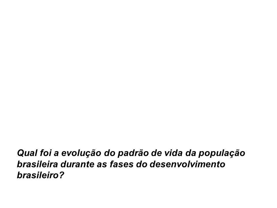 Qual foi a evolução do padrão de vida da população brasileira durante as fases do desenvolvimento brasileiro