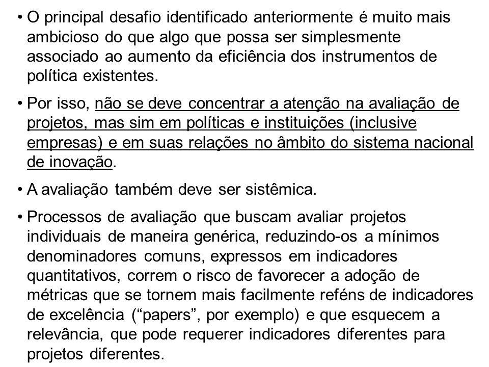 O principal desafio identificado anteriormente é muito mais ambicioso do que algo que possa ser simplesmente associado ao aumento da eficiência dos instrumentos de política existentes.