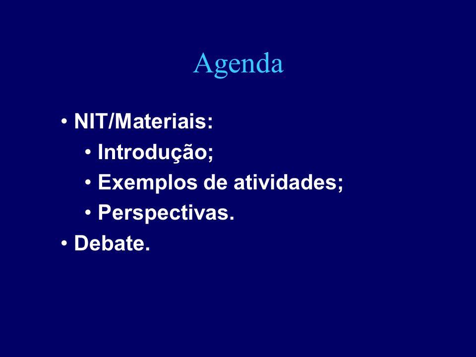 Agenda NIT/Materiais: Introdução; Exemplos de atividades;