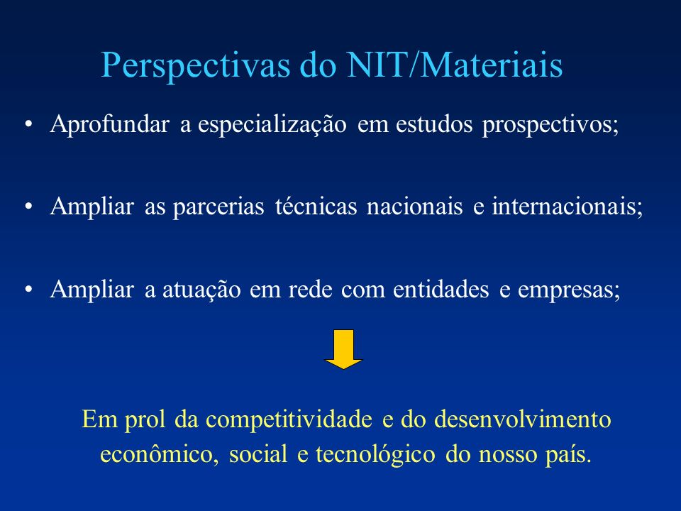 Perspectivas do NIT/Materiais