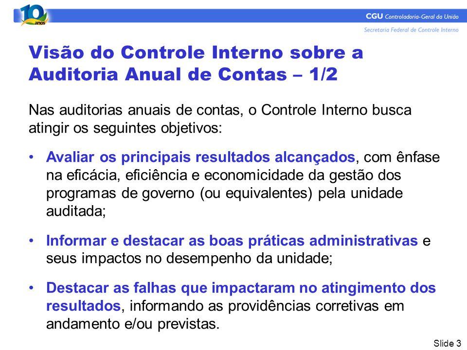 Visão do Controle Interno sobre a Auditoria Anual de Contas – 1/2