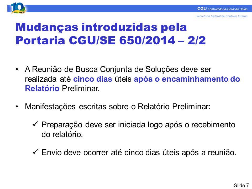 Mudanças introduzidas pela Portaria CGU/SE 650/2014 – 2/2