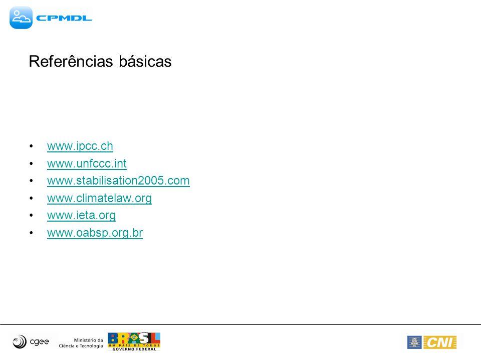 Referências básicas www.ipcc.ch www.unfccc.int