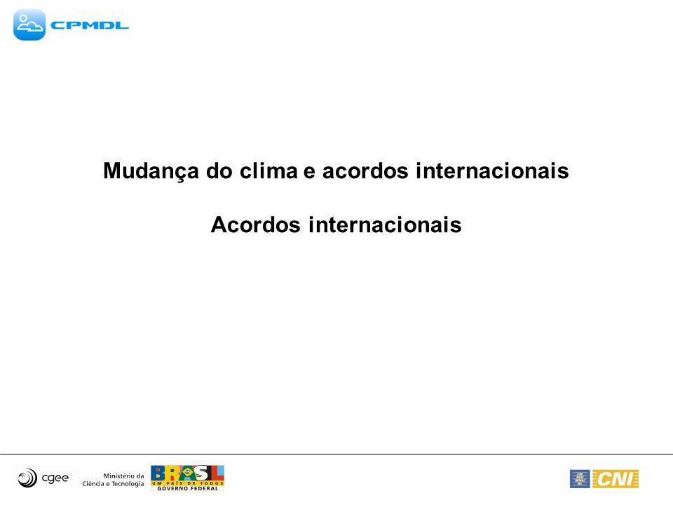 Mudança do clima e acordos internacionais Acordos internacionais