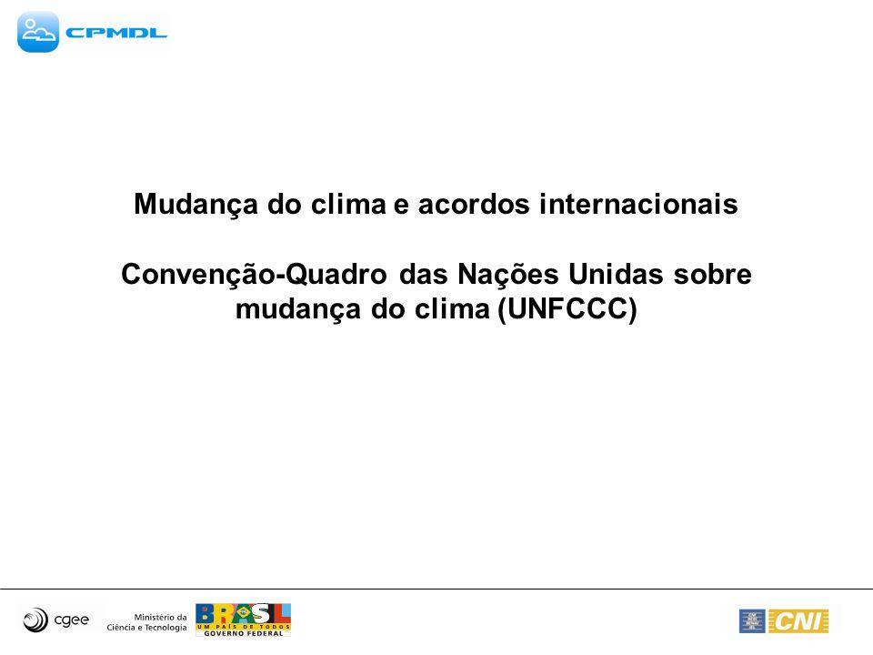 Mudança do clima e acordos internacionais Convenção-Quadro das Nações Unidas sobre mudança do clima (UNFCCC)