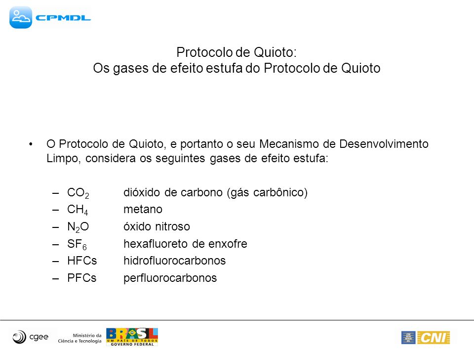 Protocolo de Quioto: Os gases de efeito estufa do Protocolo de Quioto