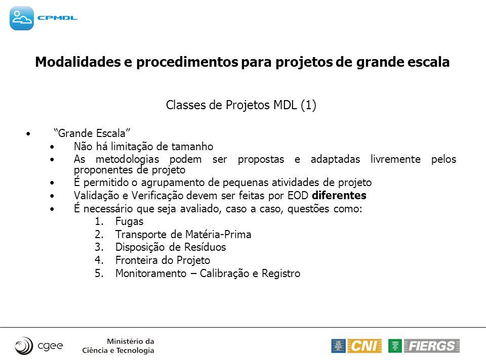 Modalidades e procedimentos para projetos de grande escala