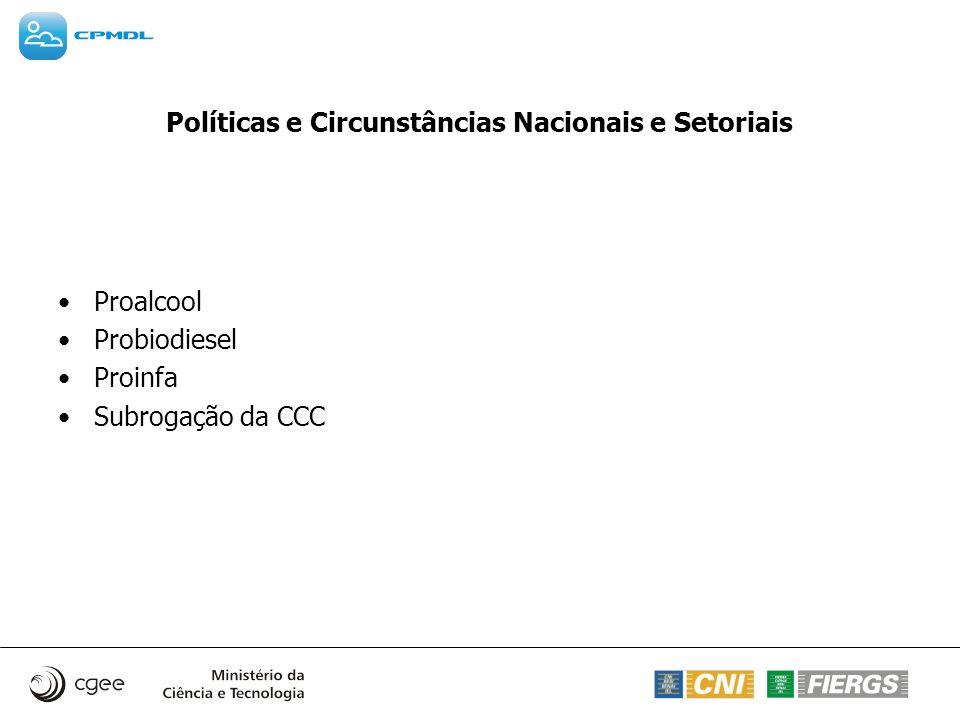 Políticas e Circunstâncias Nacionais e Setoriais