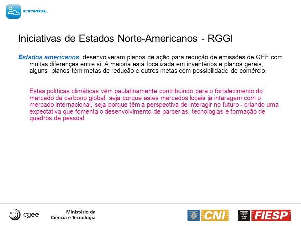 Iniciativas de Estados Norte-Americanos - RGGI