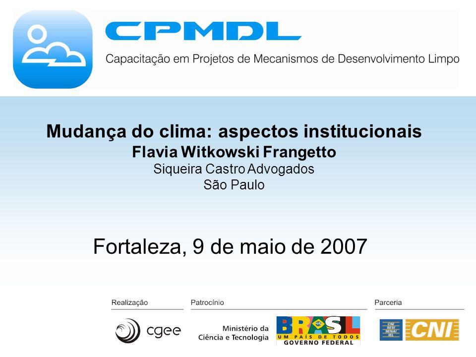 Mudança do clima: aspectos institucionais Flavia Witkowski Frangetto Siqueira Castro Advogados São Paulo