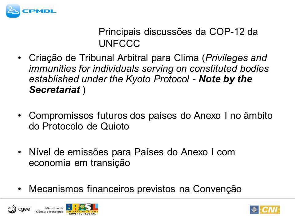 Principais discussões da COP-12 da UNFCCC