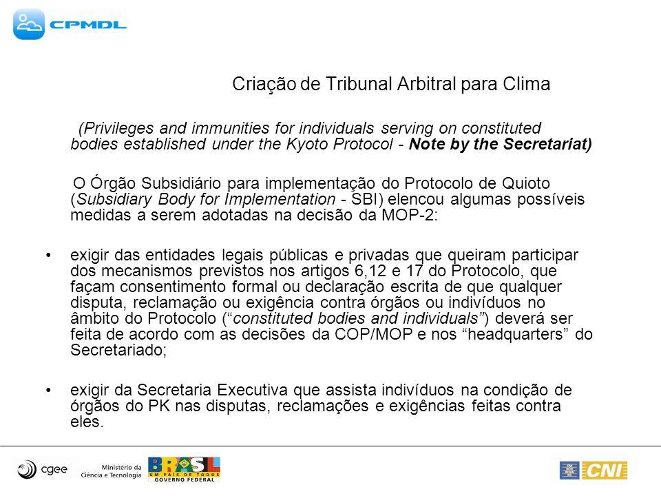 Criação de Tribunal Arbitral para Clima