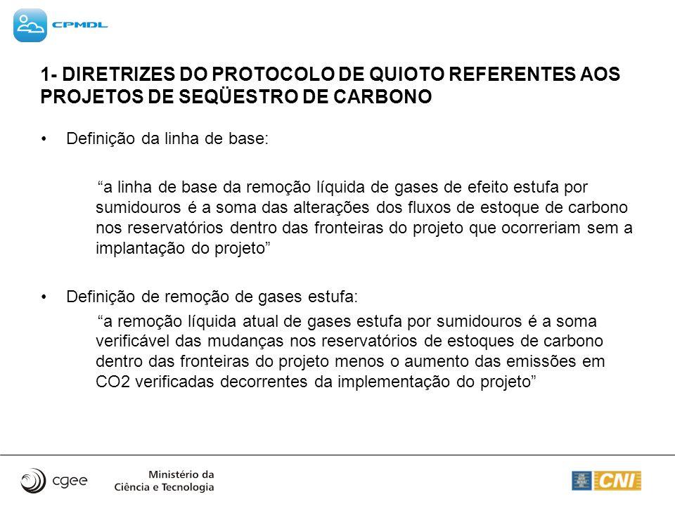 1- DIRETRIZES DO PROTOCOLO DE QUIOTO REFERENTES AOS PROJETOS DE SEQÜESTRO DE CARBONO