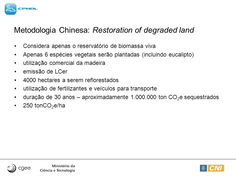 Metodologia Chinesa: Restoration of degraded land