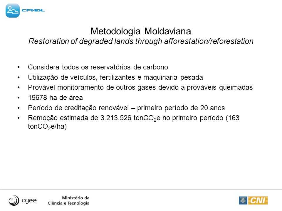 Metodologia Moldaviana Restoration of degraded lands through afforestation/reforestation
