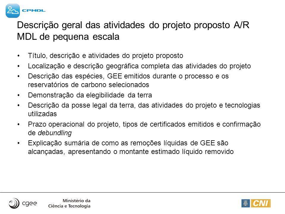 Descrição geral das atividades do projeto proposto A/R MDL de pequena escala