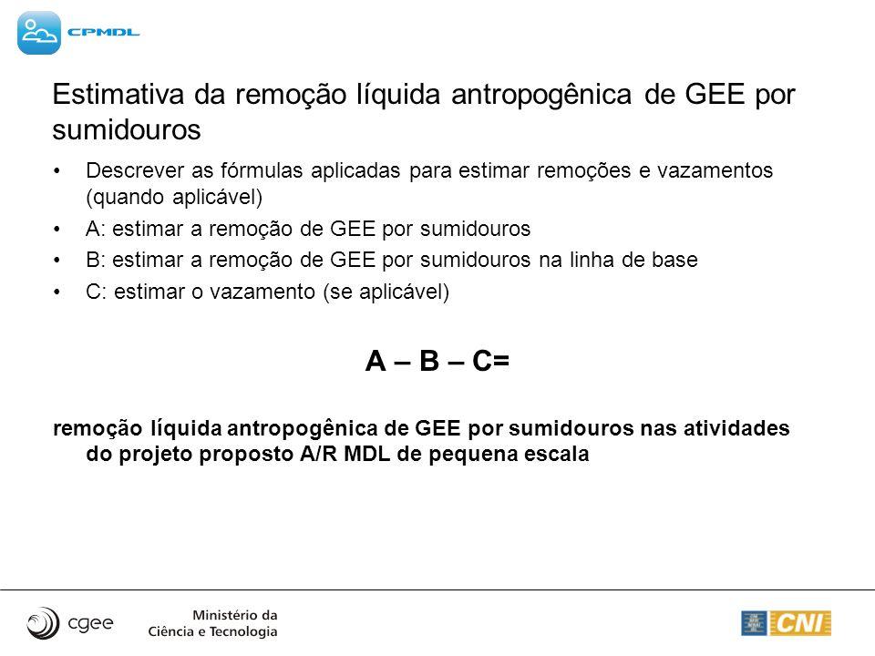 Estimativa da remoção líquida antropogênica de GEE por sumidouros