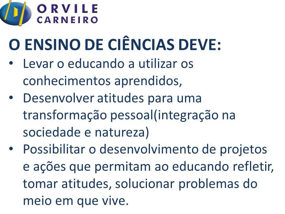 O ENSINO DE CIÊNCIAS DEVE: