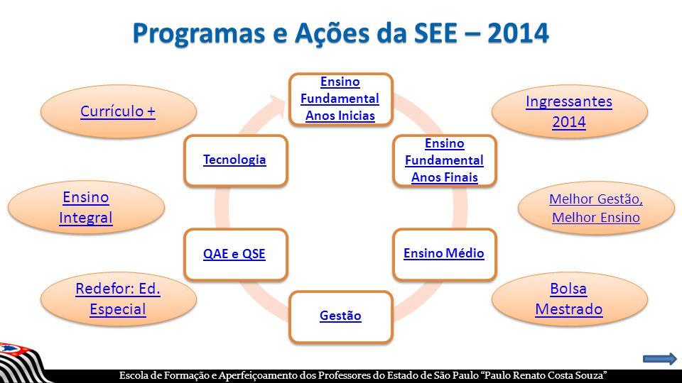 Programas e Ações da SEE – 2014