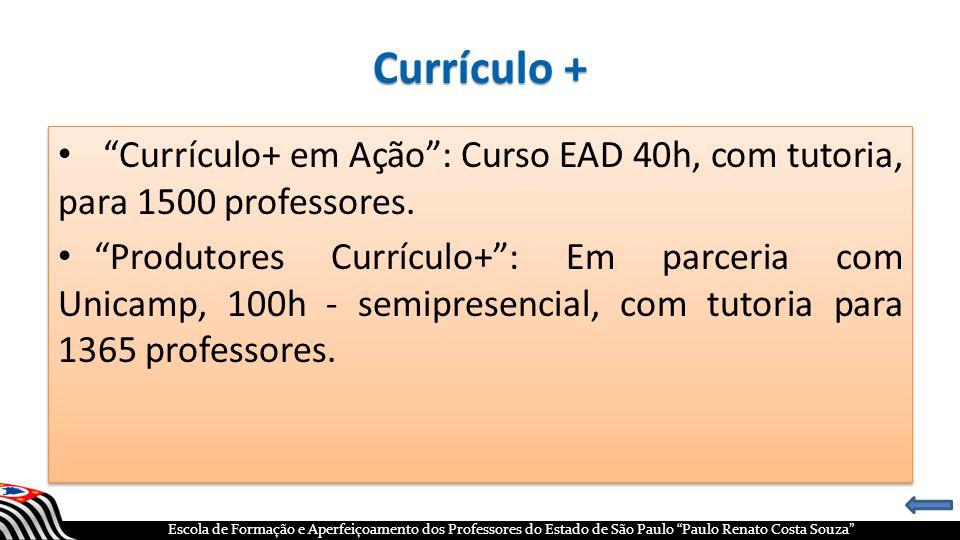 Currículo + Currículo+ em Ação : Curso EAD 40h, com tutoria, para 1500 professores.