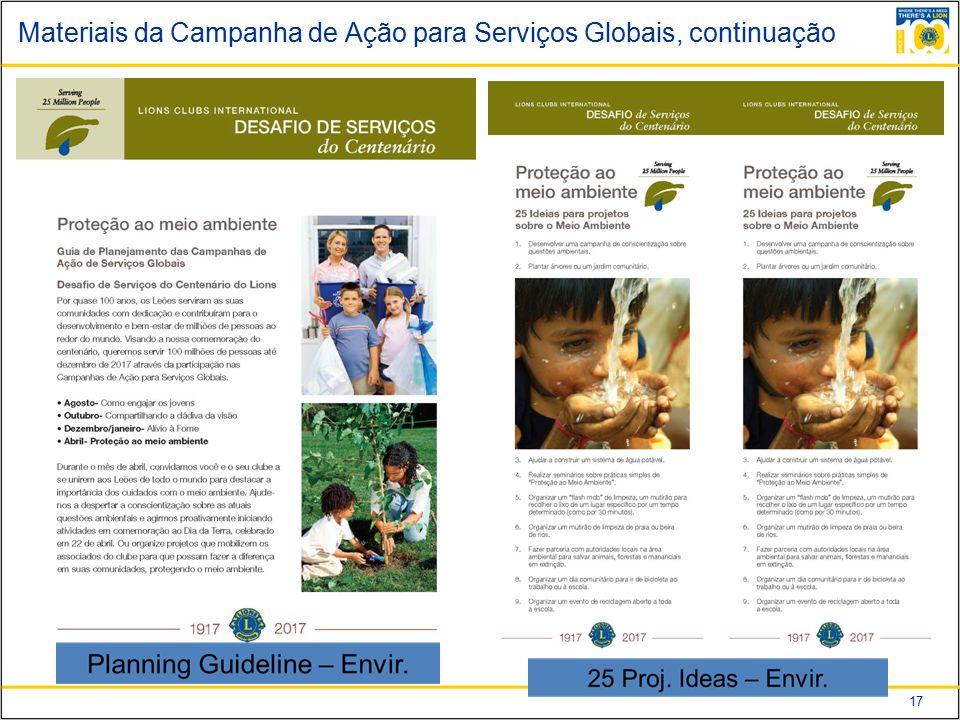 Materiais da Campanha de Ação para Serviços Globais, continuação