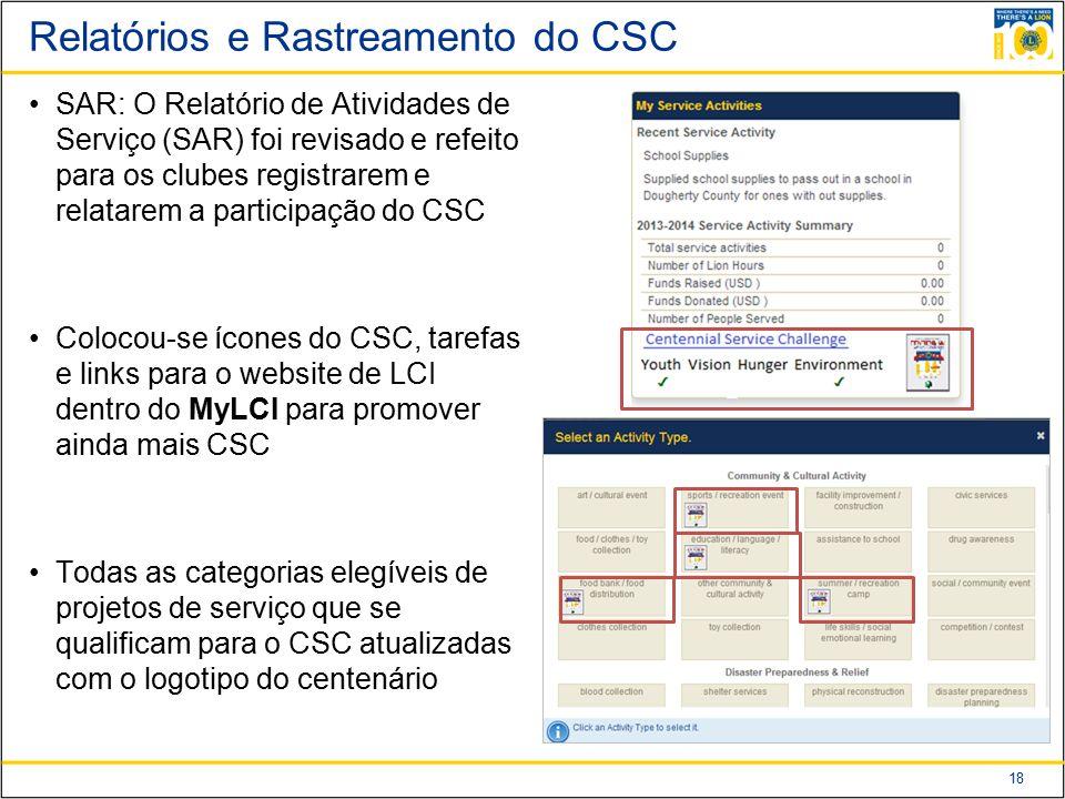 Relatórios e Rastreamento do CSC