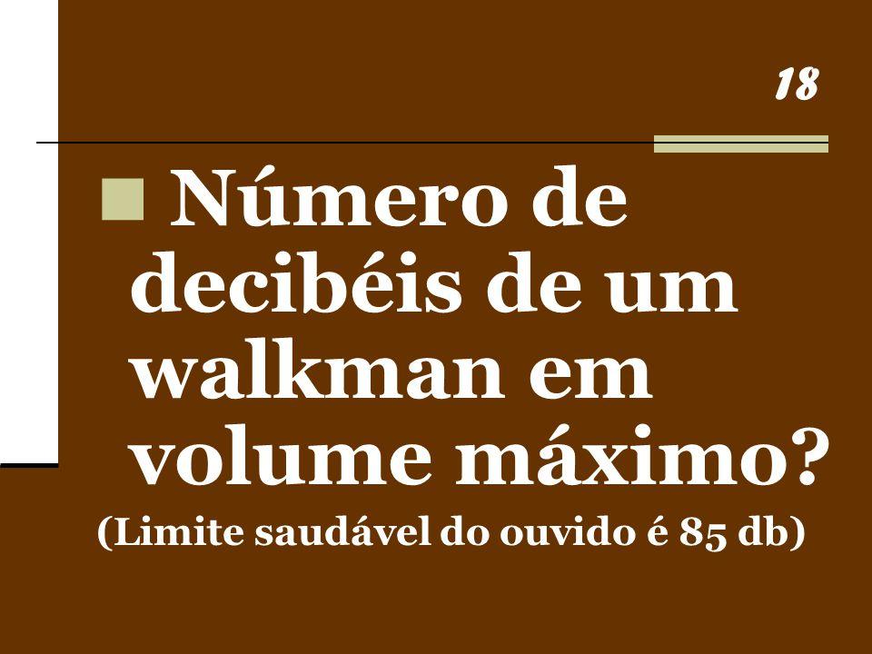 Número de decibéis de um walkman em volume máximo