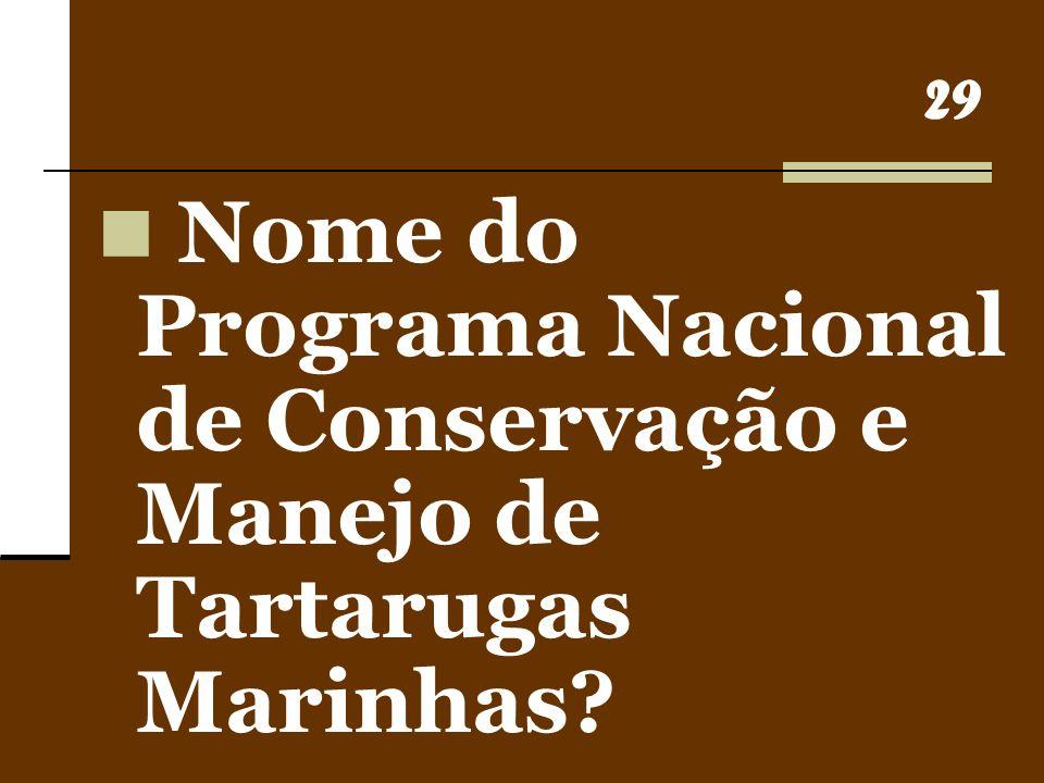 29 Nome do Programa Nacional de Conservação e Manejo de Tartarugas Marinhas