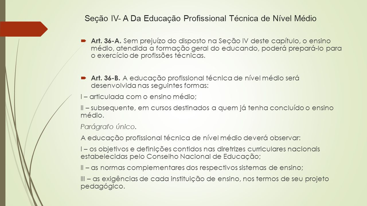 Seção IV- A Da Educação Profissional Técnica de Nível Médio