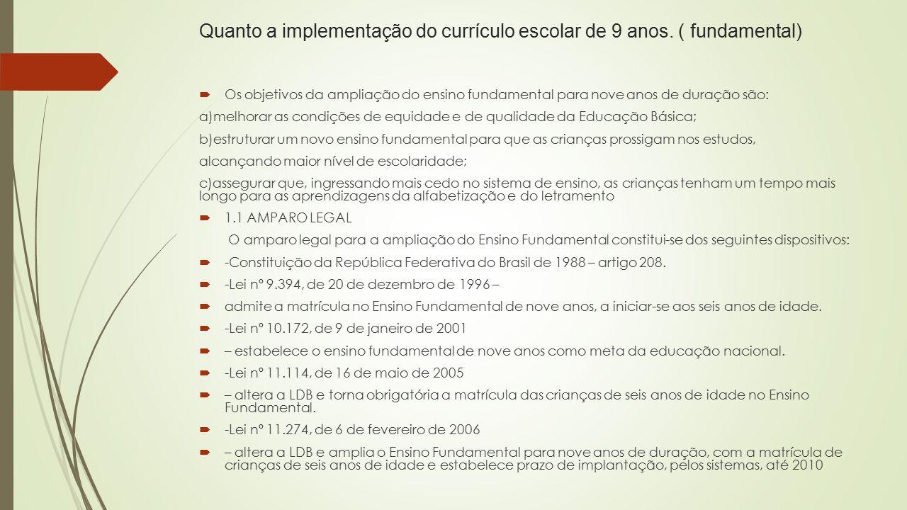 Quanto a implementação do currículo escolar de 9 anos. ( fundamental)
