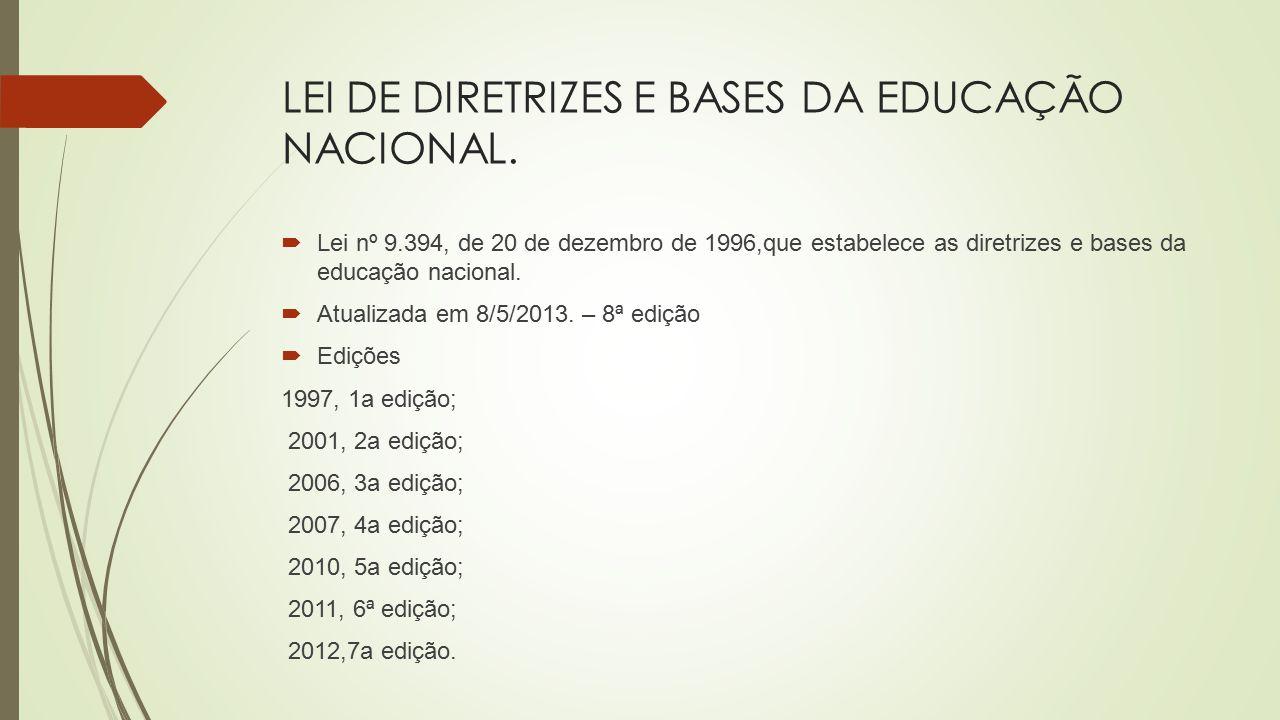 LEI DE DIRETRIZES E BASES DA EDUCAÇÃO NACIONAL.