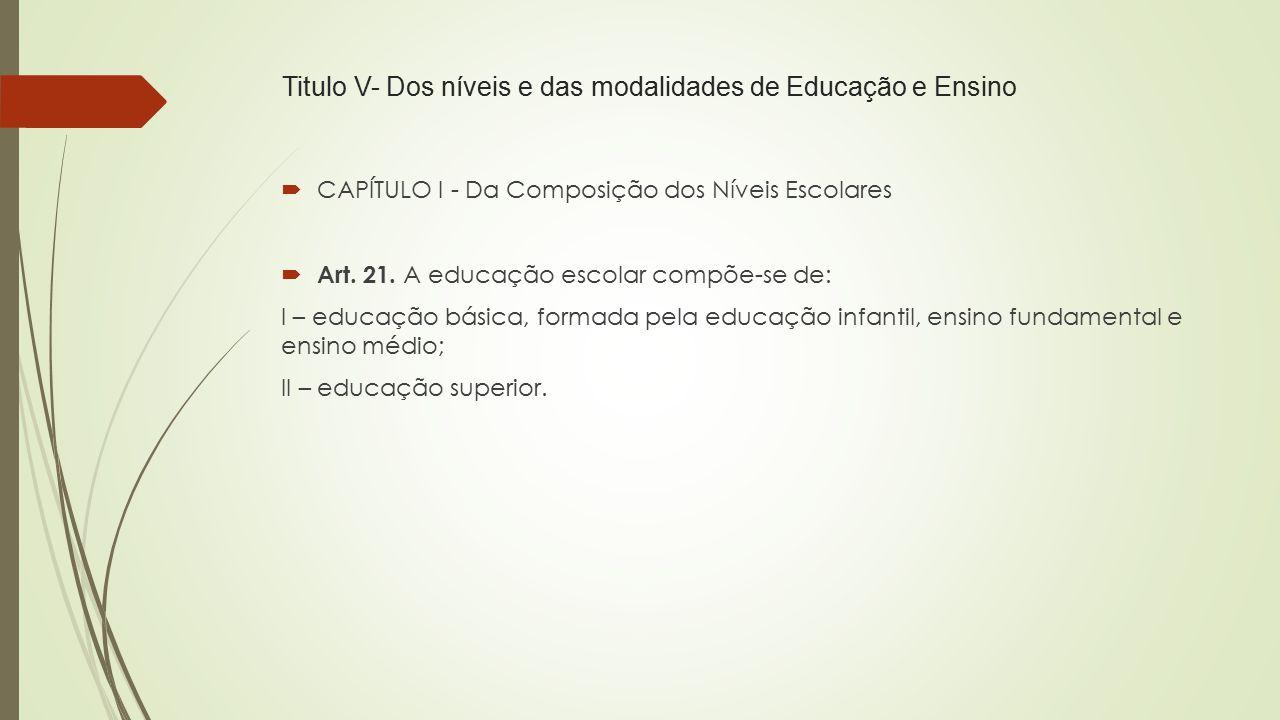 Titulo V- Dos níveis e das modalidades de Educação e Ensino