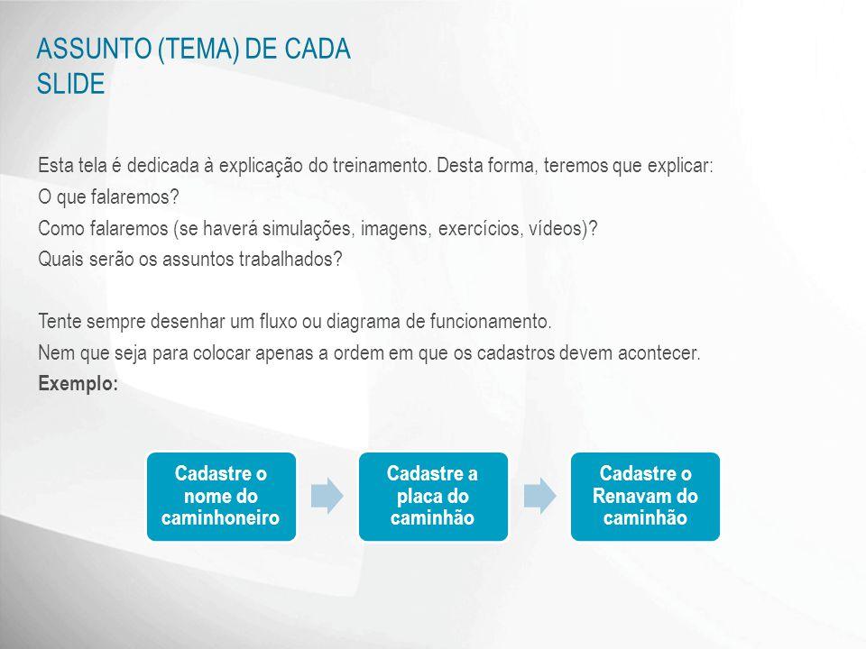 ASSUNTO (TEMA) DE CADA SLIDE