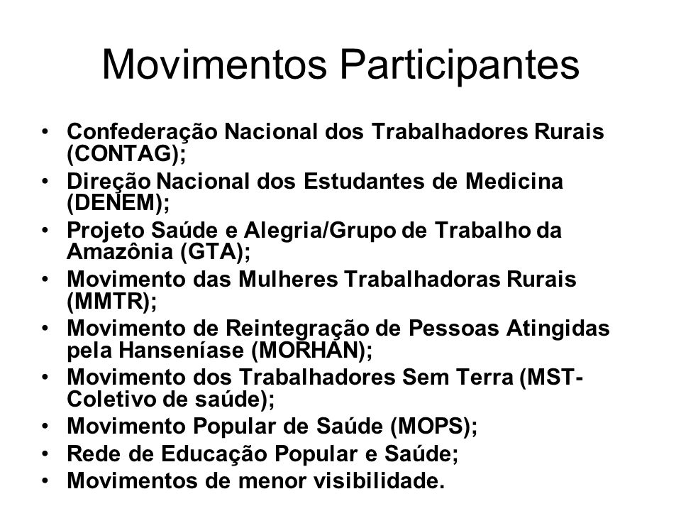 Movimentos Participantes