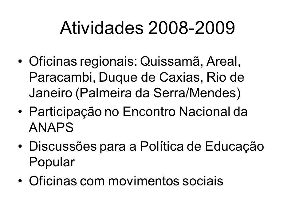 Atividades 2008-2009 Oficinas regionais: Quissamã, Areal, Paracambi, Duque de Caxias, Rio de Janeiro (Palmeira da Serra/Mendes)