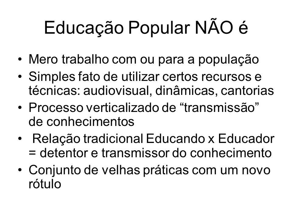Educação Popular NÃO é Mero trabalho com ou para a população
