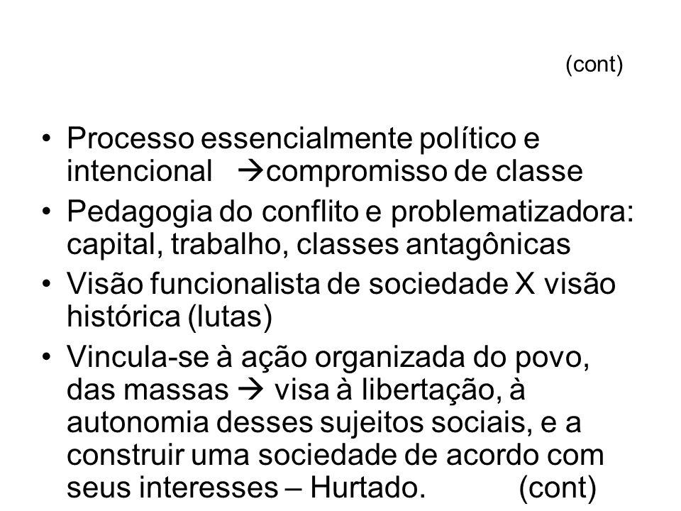 Processo essencialmente político e intencional compromisso de classe