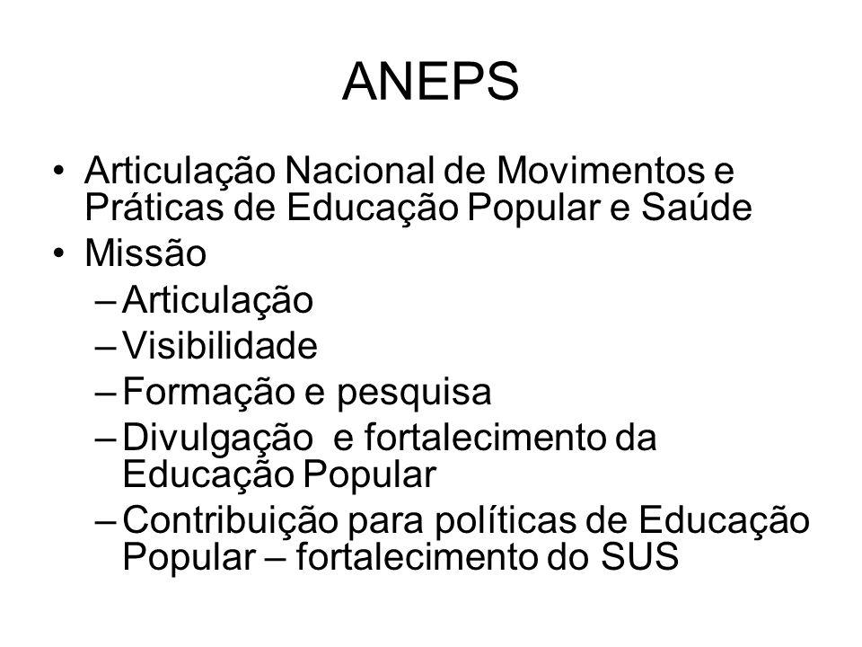 ANEPS Articulação Nacional de Movimentos e Práticas de Educação Popular e Saúde. Missão. Articulação.