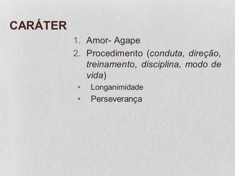 CARÁTER Amor- Agape. Procedimento (conduta, direção, treinamento, disciplina, modo de vida) Longanimidade.