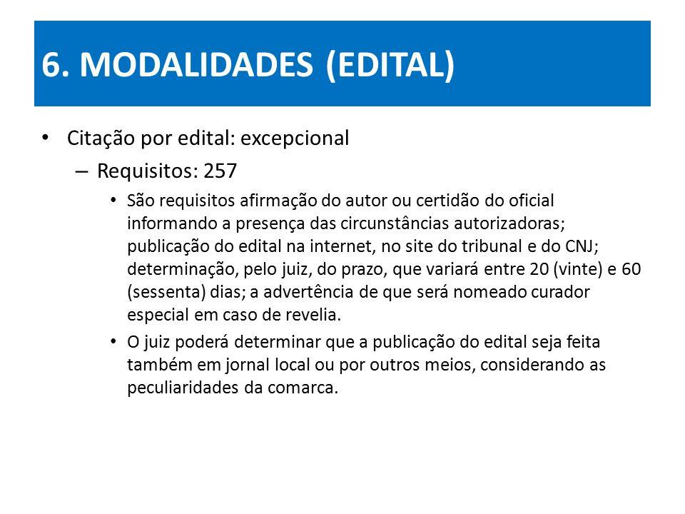 6. MODALIDADES (EDITAL) Citação por edital: excepcional