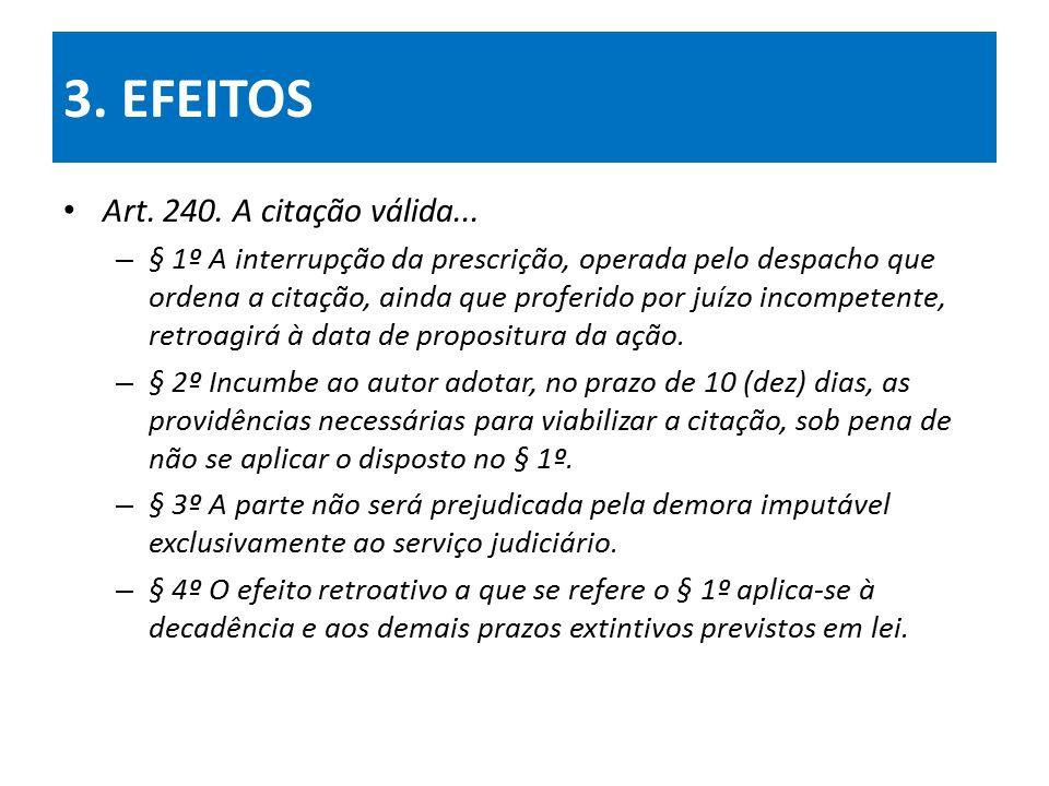 3. EFEITOS Art. 240. A citação válida...