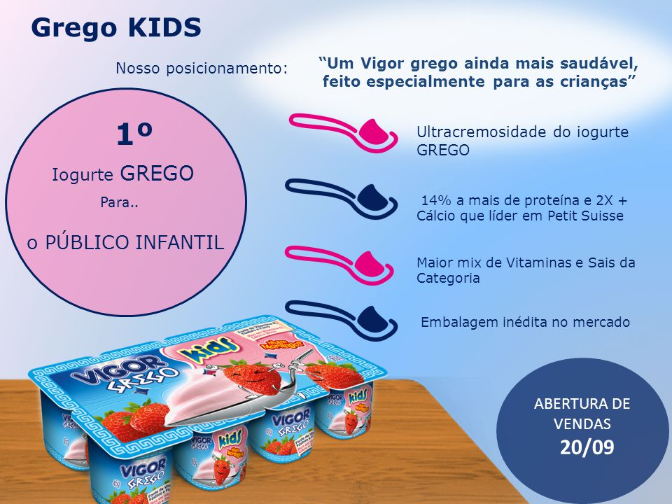 1º Grego KIDS 20/09 o PÚBLICO INFANTIL / Iogurte GREGO Para..