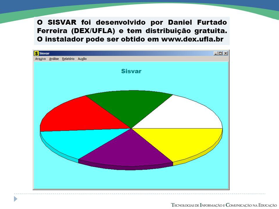 O SISVAR foi desenvolvido por Daniel Furtado Ferreira (DEX/UFLA) e tem distribuição gratuita.